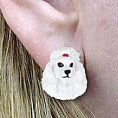 CLEARANCE Post Style POODLE WHITE Resin Dog Head Post Earrings Jewelry
