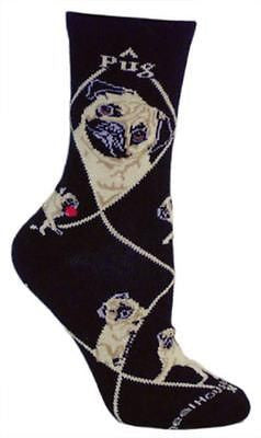Adult Size Medium PUG Adult Socks/Black Made in USA