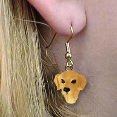 Dangle Style GOLDEN RETRIEVER Dog Head Resin Earrings Jewelry