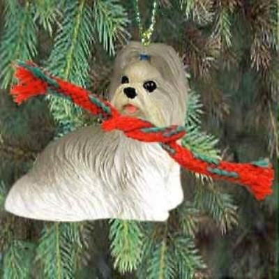 Small Resin SHIH TZU MIXED COLOR Dog Breed Miniature Christmas Ornament