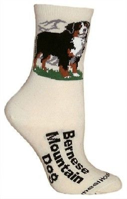 Adult Size Medium BERNESE MOUNTAIN DOG Adult Socks/Natural Made in USA