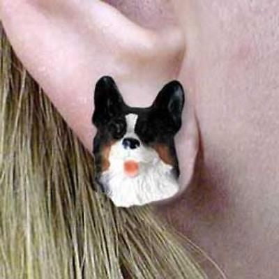 CLEARANCE Post Style WELSH CORGI TRI Resin Dog Head Post Earrings Jewelry