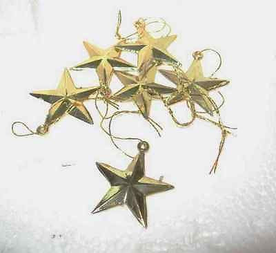 Craft Supply Miniature Plastic Gold Stars Lot of 6 pieces