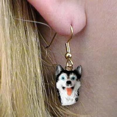 Dangle Style SIBERIAN HUSKY B/W Dog Head Resin Earrings Jewelry