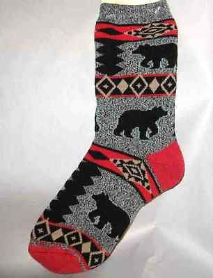 Wildlife Animal BEAR Blanket Adult Cushioned Socks size Large 10-13