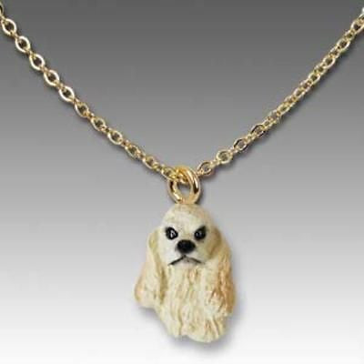 Dog on Chain COCKER SPANIEL BUFF Resin Dog Necklace Jewelry Pendant