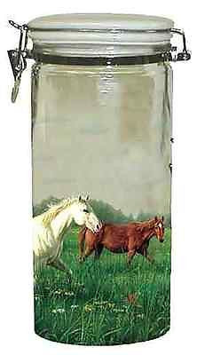 Horsey Kitchen HORSE in Meadow Large Glass Cannister CLEARANCE SALE