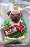 Blown Glass PUG LUV Dog Breed Christmas Ornament RETIRED