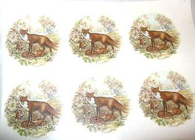 "Ceramic Decal RED FOX FAMILY Mama & Kits 2"" Decal 6 pieces"