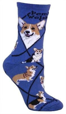Adult Size Medium WELSH CORGI PEMBROKE Adult Socks/Blue Made in USA