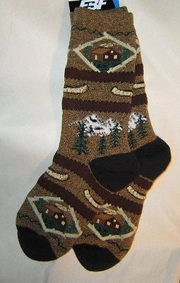Great Outdoors CABIN in the WOODS Adult Cushioned Socks size Medium 6-11