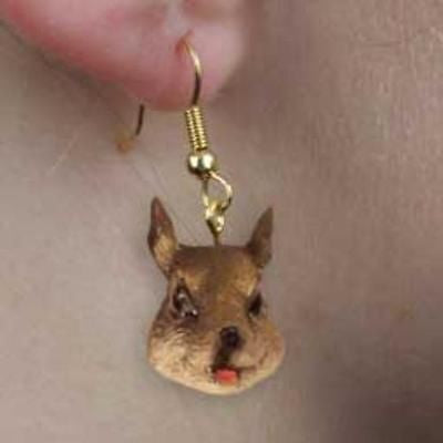 CLEARANCE..Animal Wildlife SQUIRREL GRAY Head Resin Dangle Earrings