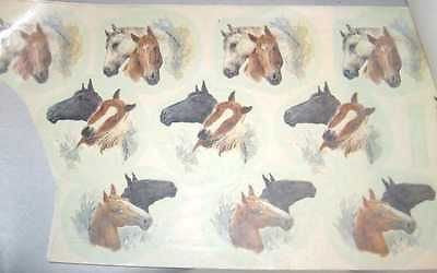 "Ceramic Decal HORSE HEADS 3 Asstd 2 1/2"" Decal 10 pieces"
