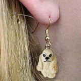 Dangle Style COCKER SPANIEL BUFF Dog Head Resin Earrings Jewelry CLEARANCE