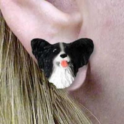 CLEARANCE Post Style PAPILLON BLK/WHITE Resin Dog Head Post Earrings Jewelry