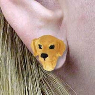 CLEARANCE Post Style GOLDEN RETRIEVER Resin Dog Head Post Earrings Jewelry