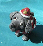 CLEARANCE..Cutie LAB RETRIEVER BLACK Silly Dog Breed Xmas Ornament