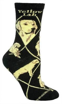 Adult Size Medium LAB RETRIEVER YELLOW Adult Socks/Black Made in USA