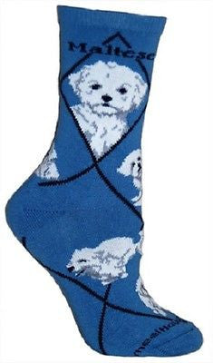 Adult Size Medium MALTESE PUPPY CUT Adult Socks/Blue Made in USA