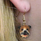 CLEARANCE Dangle Style BULLDOG BROWN  Dog Head Earrings Jewelry