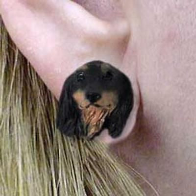 CLEARANCE Post Style DACHSHUND LONGHAIR BLACK Dog Head Post Earrings Jewelry
