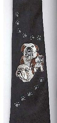 Mens Necktie BULLDOG Dog Breed Mens Accessory Polyester Tie