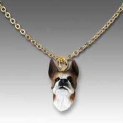 CLEARANCE Dog on Chain BOXER BRINDLE Resin Dog Necklace Jewelry Pendant