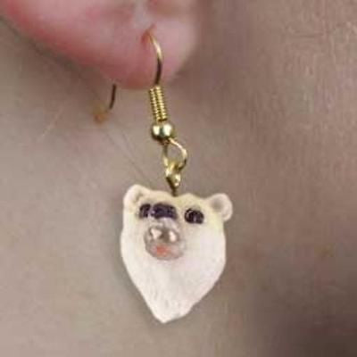CLEARANCE..Animal Wildlife POLAR BEAR Head Resin Dangle Earrings