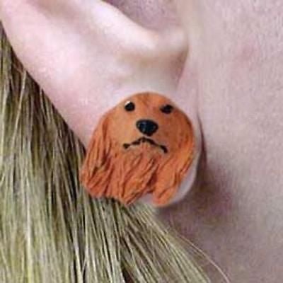 CLEARANCE Post Style DACHSHUND LONGHAIR RED Dog Head Post Earrings Jewelry