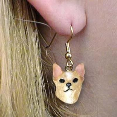 Dangle Style CHIHUAHUA TAN Dog Head Resin Earrings Jewelry