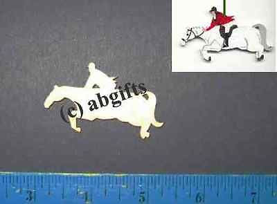 "Craft Supply Small ENGLISH Horse/Rider Unfinished Wood Cutout 1/8"" LOT of 6 pcs CLEARANCE SALE"