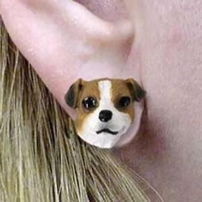 CLEARANCE Post Style JACK RUSSELL TERRIER Brown II Resin Dog Head Post Earrings