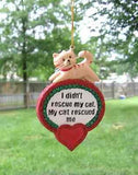 CLEARANCE..Resin Ornament MY CAT RESCUED ME Christmas Ornament