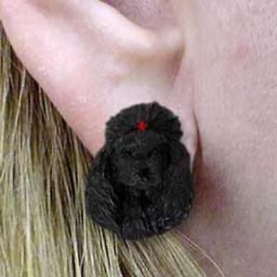 CLEARANCE Post Style POODLE BLACK Resin Dog Head Post Earrings Jewelry
