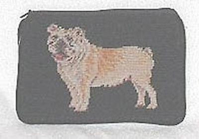 CLEARANCE..BULLDOG Dog Breed Needlepoint Cosmetic Bag Zippered Pouch