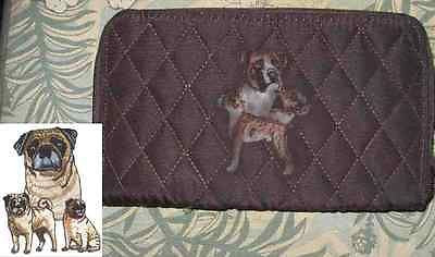 Belvah Quilted Fabric PUG FAWN Dog Breed Zip Around Brown Ladies Wallet