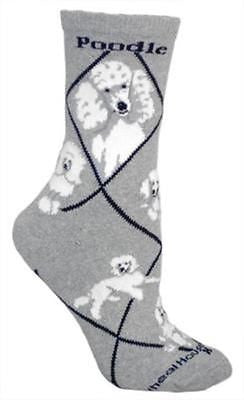 Adult Size Medium POODLE WHITE Adult Socks/Grey Made in USA