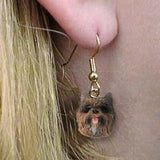 CLEARANCE Dangle Style CAIRN TERRIER BRINDLE Dog Head Earrings Jewelry