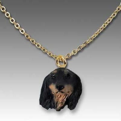 Dog on Chain DACHSHUND LONGHAIR BLACK Resin Dog Head Necklace Jewelry Pendant