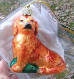 CLEARANCE...Fine Quality GOLDEN RETRIEVER Dark Glass Xmas Ornament