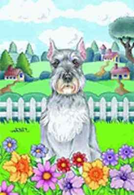 Large Flag Schnauzer Dog Breed Spring Colors House Flag 28 x 40