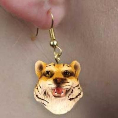 Animal Wildlife TIGER Head Resin Dangle Earrings CLEARANCE