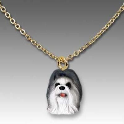 CLEARANCE Dog on Chain SHIH TZU GRAY Resin Dog Necklace Jewelry Pendant