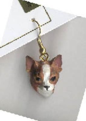 CLEARANCE Dangle Style CHIHUAHUA BRINDLE II Dog Head Earrings Jewelry