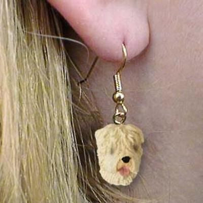 Dangle Style SOFT-COATED WHEATEN Dog Head Resin Earrings Jewelry