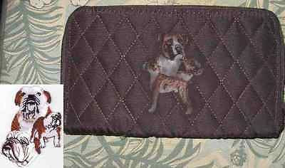 Belvah Quilted Fabric BULLDOG Dog Breed Zip Around Brown Ladies Wallet