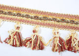 "Decorative Rust/Tan Mix Tassel Fringe Trim 3 1/4"" wide 3 YRDS CLEARANCE SALE"