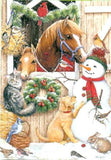Xmas Cards Chestnut MARE & FOAL in Stall Cards 10 per box