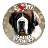 CLEARANCE..Round Car Magnet SAINT BERNARD Dog Flexible Vinyl