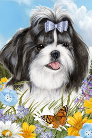 Outdoor Small Flag Shih Tzu BlkWht Dog Summer Flowers Garden Flag